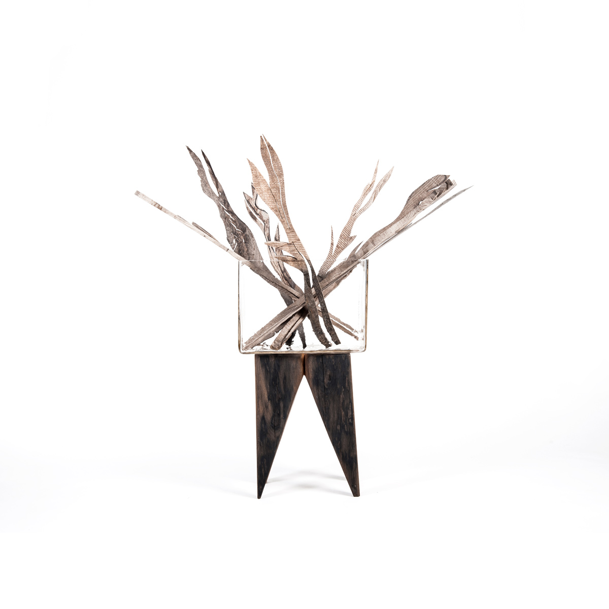 Hocker HAYMO mit Holzblumen TALIA, JK. Designermöbel
